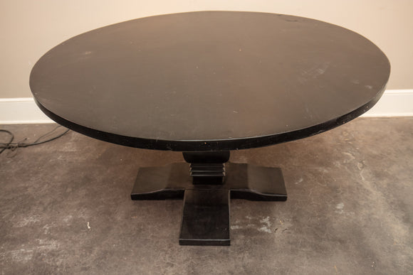 Indian Teak Black-Colored Top Circular Pedestal Table
