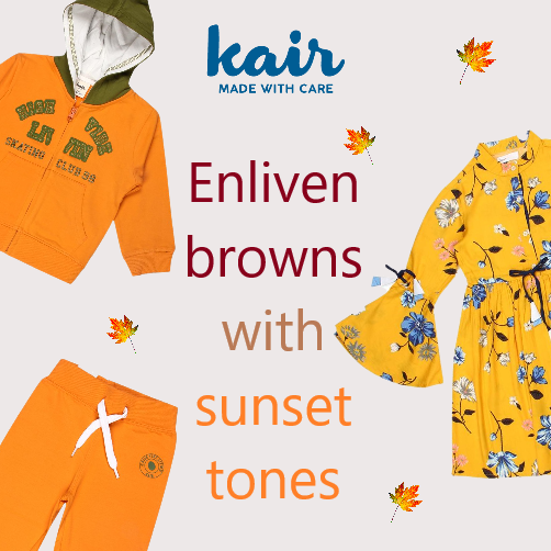 Enliven browns with sunset tones
