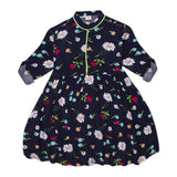 Kid Girls Spring Floral Navy Dress