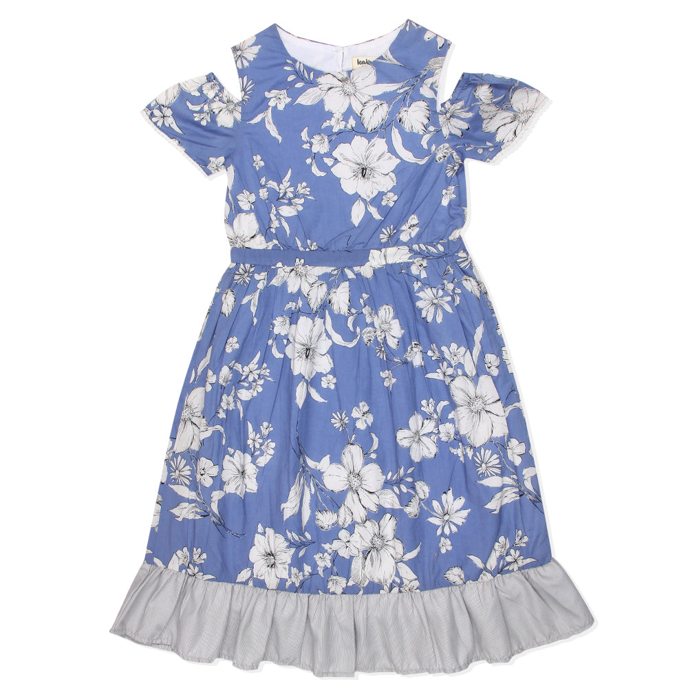 Kid Girls Cold Shoulder Blue Dress