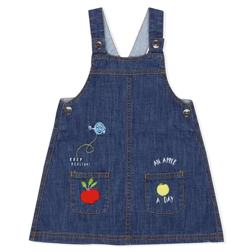 Baby Girls Embroidered Denim Pinafore Dress