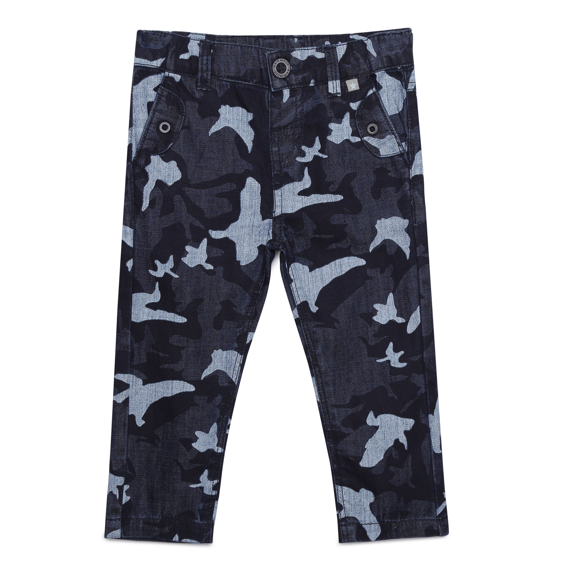 Baby Boys Navy Printed Denim Pant