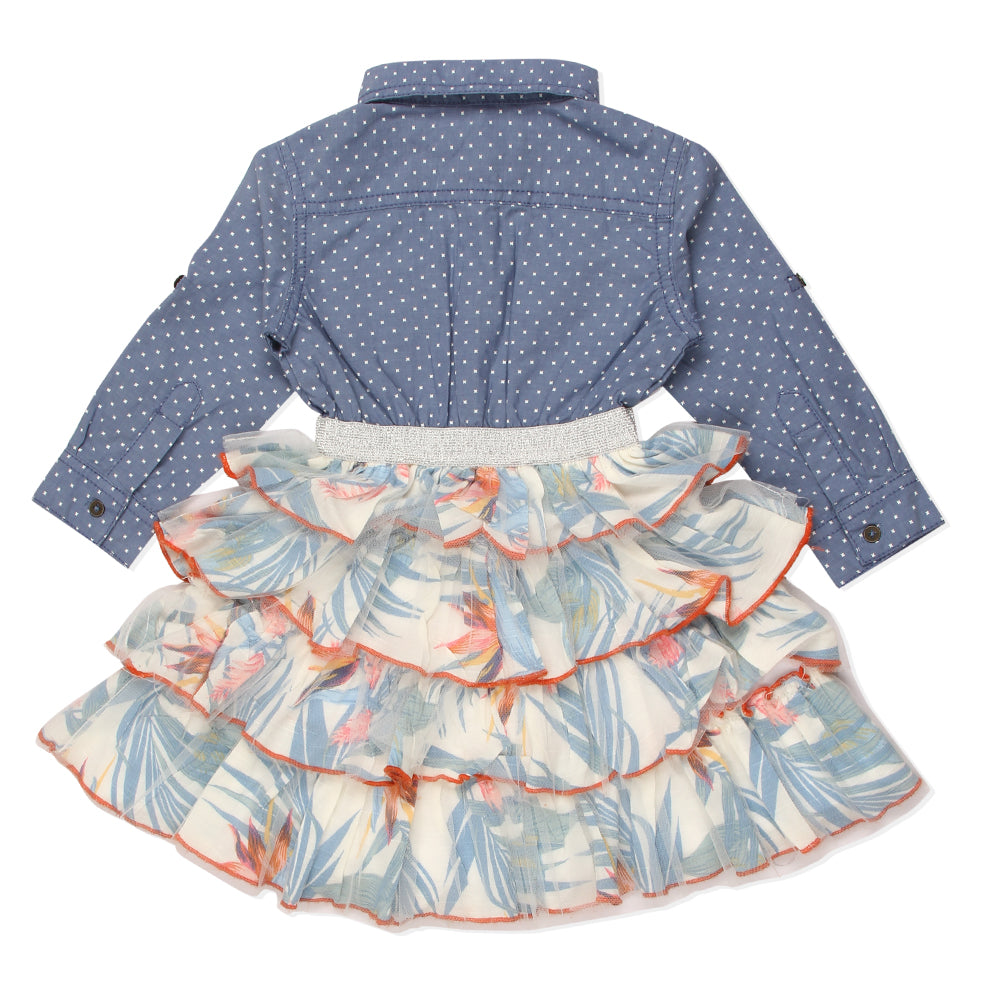 Baby Girls Tropical Floral Shirt Dress