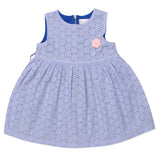 Baby Girls Blue Perforated Dress