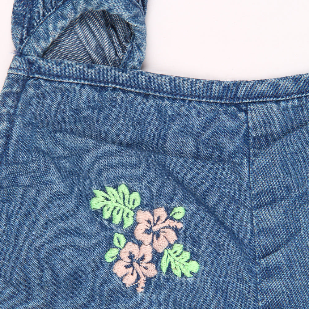 Baby Girls Embroidered Denim Playsuit with Cap
