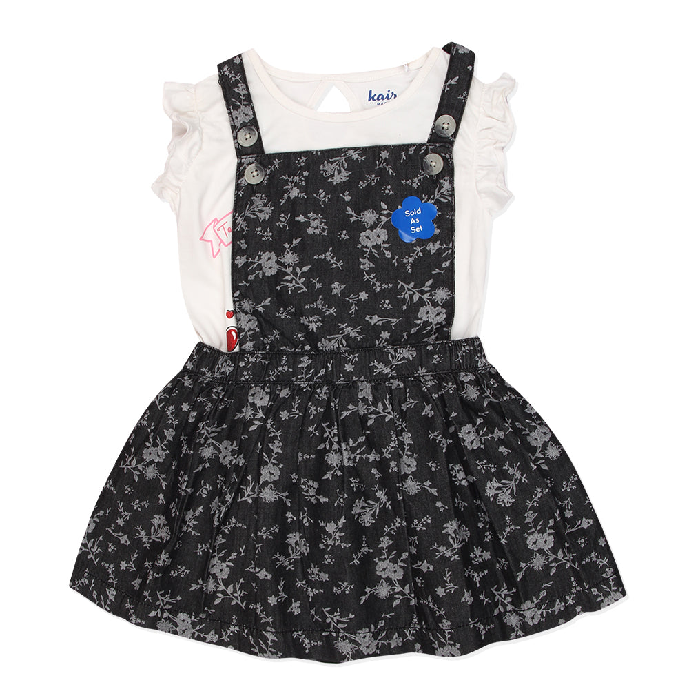 Baby Girls Printed Pinafore Dress With Graphic T-Shirt