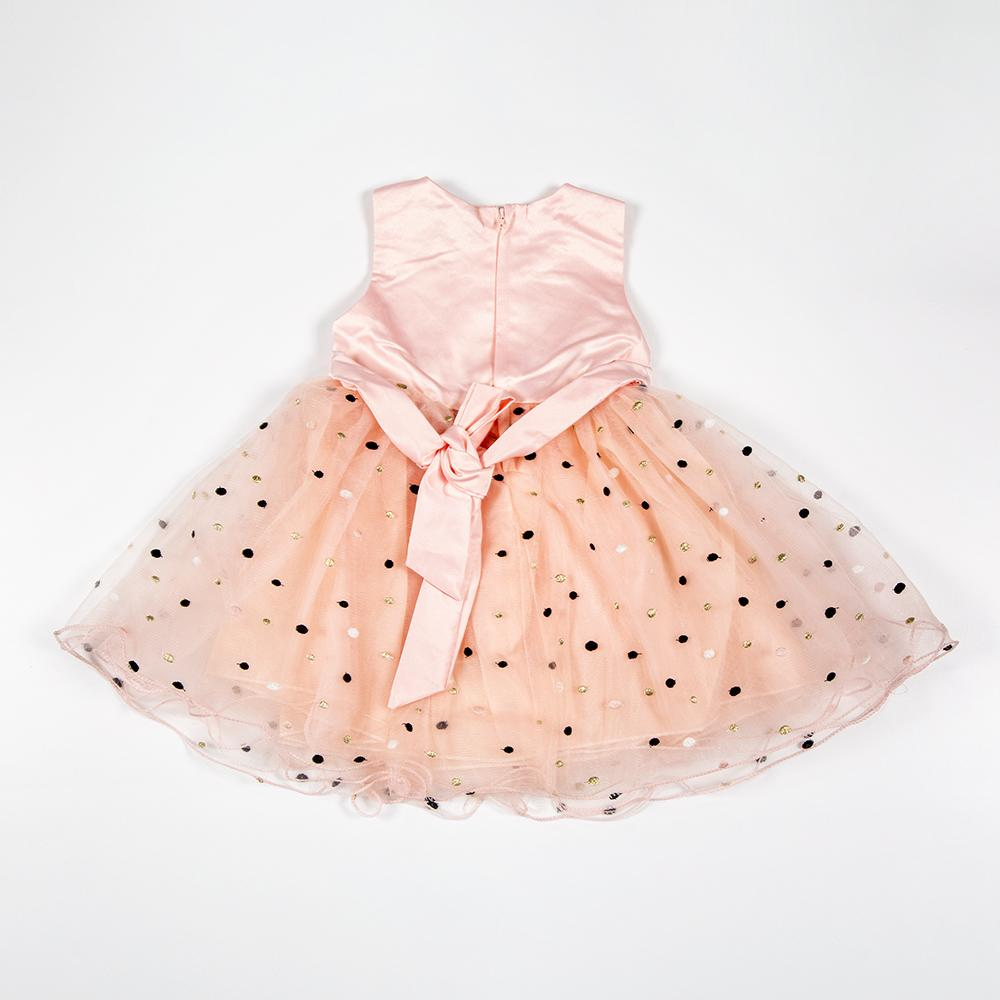 Baby Girls Peach Party Dress.