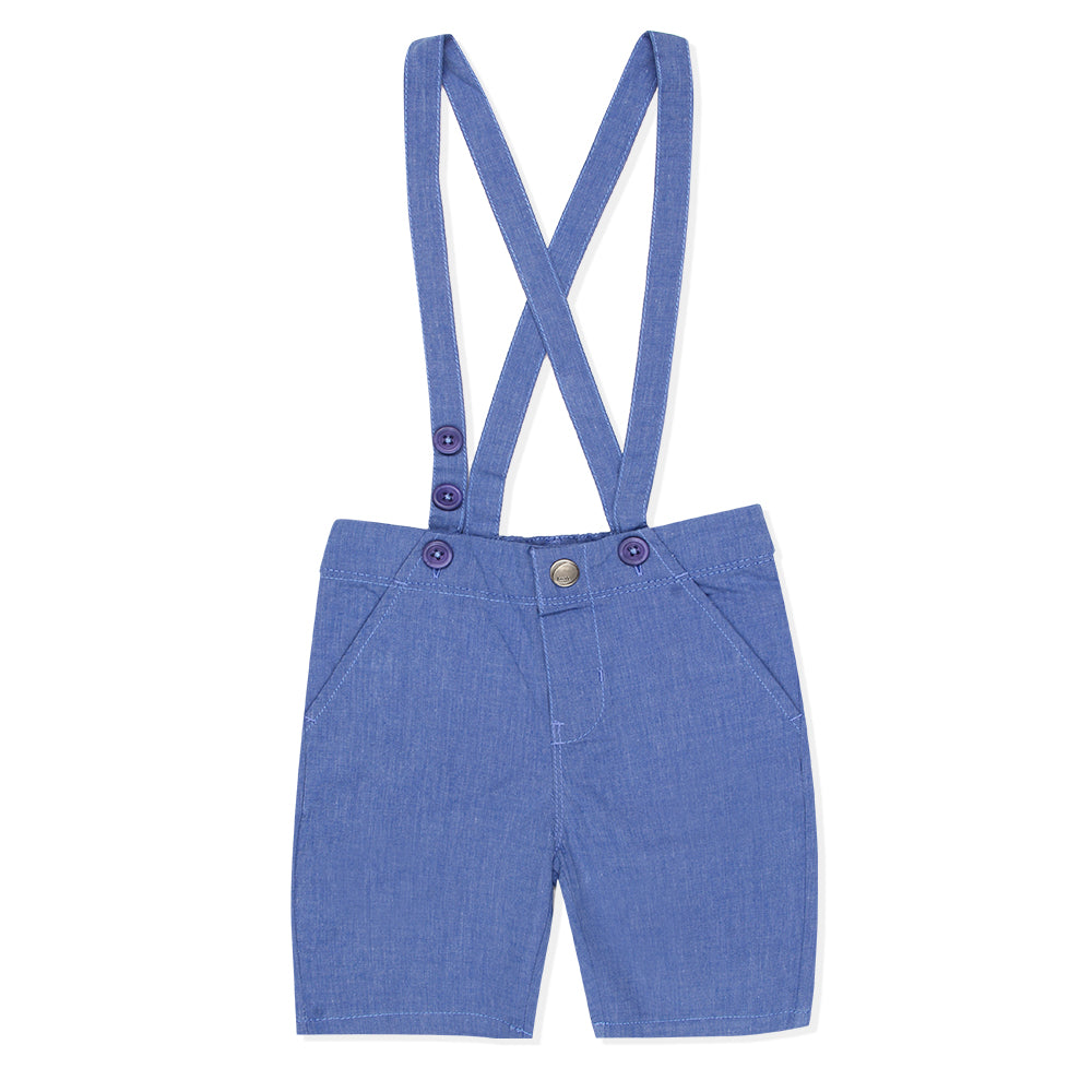 Baby Boys Suspender Blue Shorts