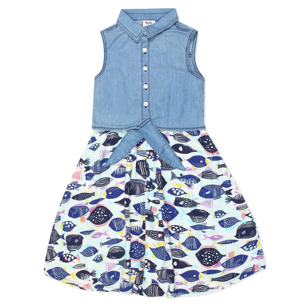Kid Girls Denim Ocean dress
