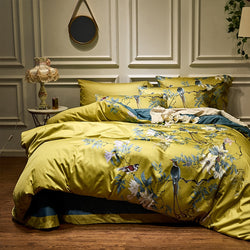 Silky Egyptian cotton Yellow Chinoiserie style Birds Flowers Duvet Cover Bed sheet Fitted sheet set King Size Queen Bedding Set