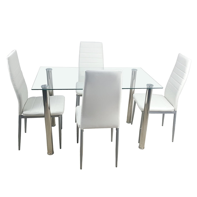 Dinning table set Tempered Glass Dining Table with 4pcs Chairs kitchen table glass table dining set furniture Shipping from US