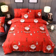 Christmas Bedclothes Bedding Set With Pillowcase Bed Quilt Cover Santa Claus Pattern Pillow Cover for Family Hotel Xmas Supplies