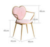 Modern fashion white dining chairs furniture for dining rooms Nordic gold makeup pink metal chair with heart back dropshipping