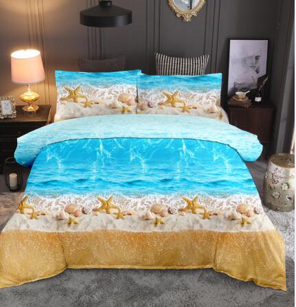 Blue Sea Beach Shell Stafish 3D Bedding Set dreamland Print Duvet cover set bedclothes with pillowcase bed set home Textiles
