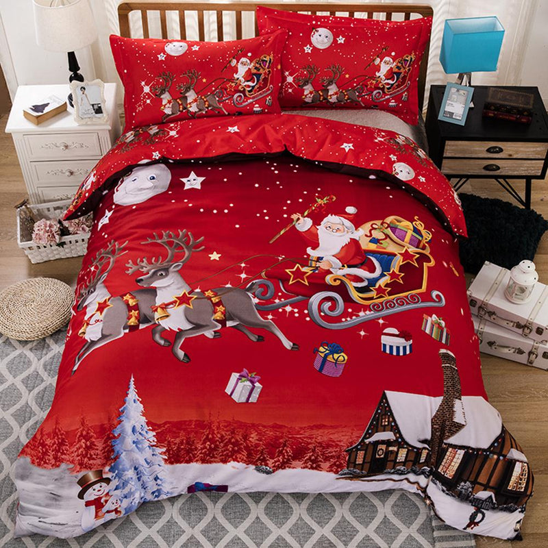 Bedding Set Santa Claus Christmas Decoration Soft Quilt Cover Duvet Cover 3pcs/Set Pillowcase Winter Sleeping Home Decor Hotel