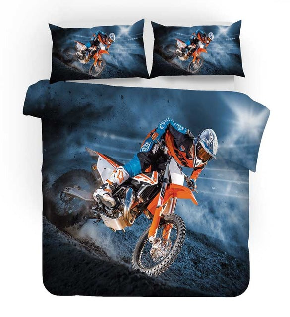 Motorcycle Bed Linens Duvet Covers Pillowcases Isle of Man TT Motocross Racing Comforter Bedding Sets Bedclothes Bed Linen