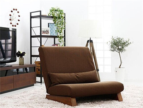 H 35% Folding Single Seat Sofa Bed Modern Fabric Japanese Living Room Furniture Armless Lounge Recliner Occasional Accent Chair
