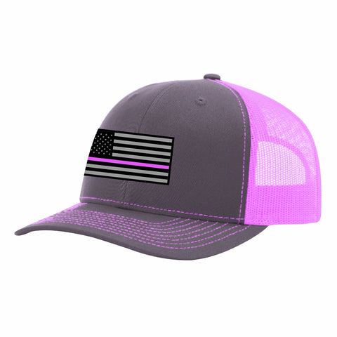 CNOA Heather Grey-Pink Mesh Back Truckers Snap Back Hat with Pink Line Flag