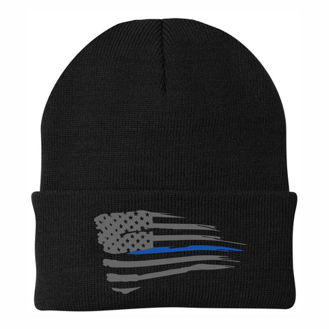 Distressed Thin Blue Line Knit Cap - Black