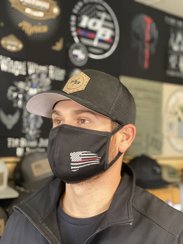 Red Line Performance Polyester 2 Ply Face Mask - Black