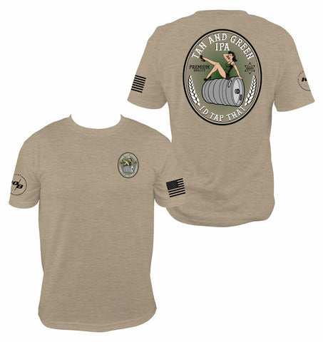 CNOA Tan & Green IPA Men's Next Level Premium Fitted CVC Crew Tee