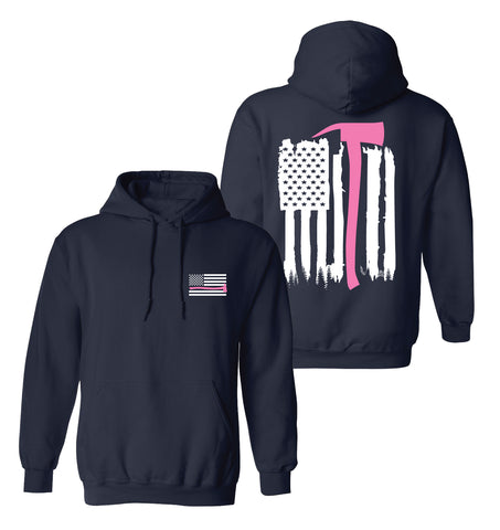 Navy Gildan Thin Pink Line Axe Flag Hooded Pullover Sweatshirt