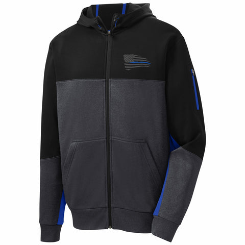 Blue Line Full Zip Sport Performance Hoodies