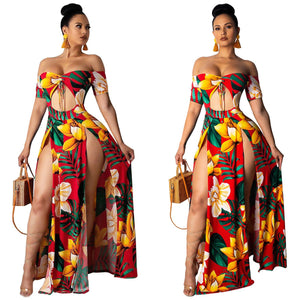 Sexy Womens Long Dress Maxi Dress Cold Shoulder V Neck Flower Print