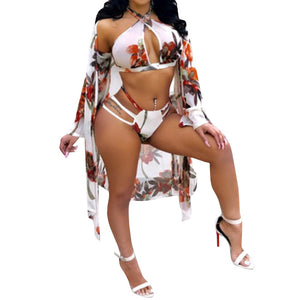 3 Piece Floral Print High Waist Bikini Set With Cover Up