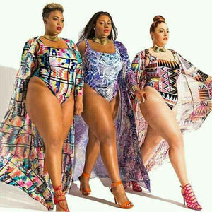 One Piece Plus Size Retro Beach Swimwear