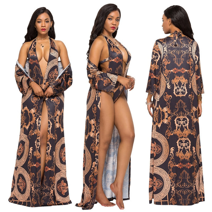 Retro Print Deep V  Neck One Piece Swimsuit Cover Ups Set