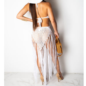 Crochet Hollow Out Tassel Beach Cover Up
