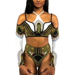 One Piece Swimsuit Bandage Bodysuit African Sexy Print