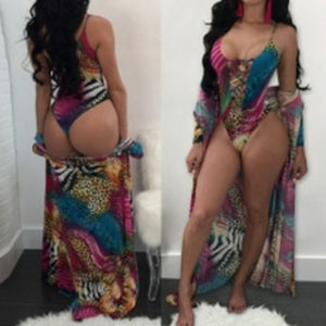 Two Piece Women Bikini Set With Cover Up Halter Hollow Bandage