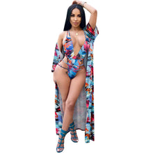 Load image into Gallery viewer, Two Piece Women Bikini Set With Cover Up Halter Hollow Bandage