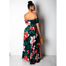 Load image into Gallery viewer, Sexy Womens Long Dress Maxi Dress Cold Shoulder V Neck Flower Print
