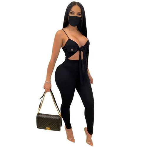 Bow Tie Women Rompers with Mask Spaghetti Strap Cut Out Waist Skinny