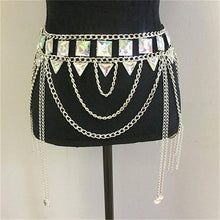 Load image into Gallery viewer, Colorful Gems Two Piece Halter Tassel Hollow Out Metal Crop