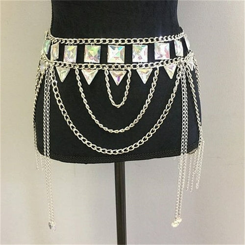 Colorful Gems Two Piece Halter Tassel Hollow Out Metal Crop