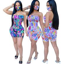 Load image into Gallery viewer, Print Strapless Playsuit & Mask