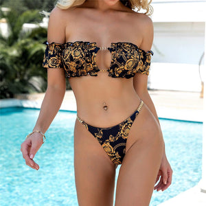Printed Off Shoulder Bikini Women Swimwear Female Swimsuit Two-pieces