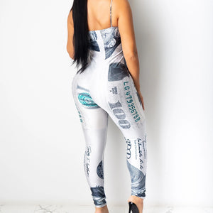 Dollars Printed Spaghetti Straps Jumpsuits