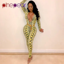 Load image into Gallery viewer, Snake Skin Print Long Sleeve Jumpsuit