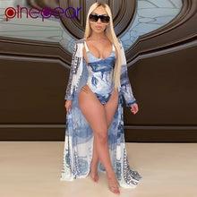 Load image into Gallery viewer, Money Print Bodysuit Cover Up 2 Piece Swimsuit