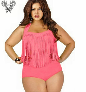 Plus Size Fringed Bikini Set Underwire Push Up Swimwear