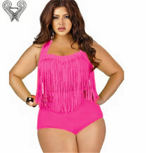 Load image into Gallery viewer, Plus Size Fringed Bikini Set Underwire Push Up Swimwear