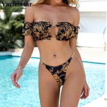 Load image into Gallery viewer, Printed Off Shoulder Bikini Women Swimwear Female Swimsuit Two-pieces