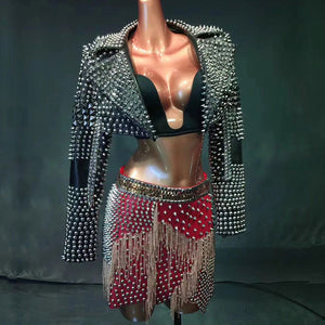 Punk Rivets Chain Tassel Costume