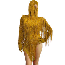 Load image into Gallery viewer, Red Gold wire tassel Glove sleeve Bodysuit Headgear GOGO