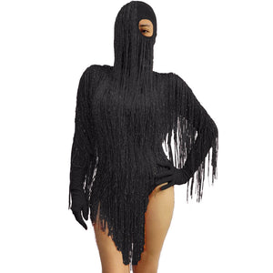 Red Gold wire tassel Glove sleeve Bodysuit Headgear GOGO